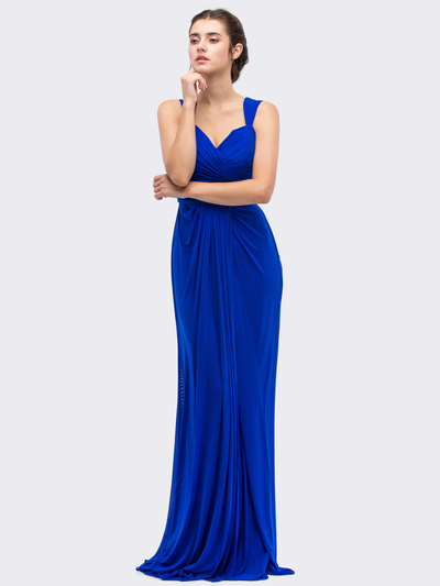 30-3440 Sleeveless Long Evening Dress - Royal Blue, Front View Medium