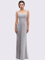 30-3440 Sleeveless Long Evening Dress - Silver, Front View Thumbnail