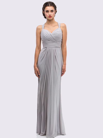 30-3440 Sleeveless Long Evening Dress - Silver, Front View Medium