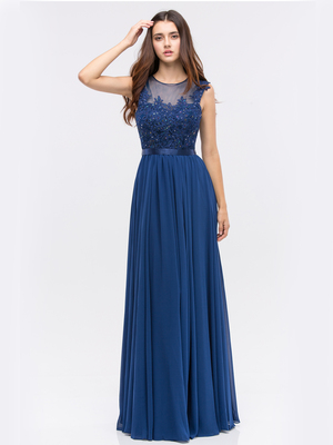 30-3611 Evening Dress with Illusion Neckline, Navy