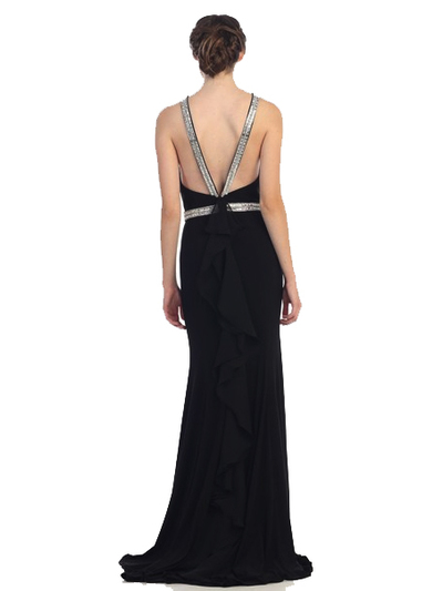 30-4053 Halter Jeweled Neckline Long Prom Dress - Black, Back View Medium