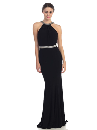 30-4053 Halter Jeweled Neckline Long Prom Dress - Black, Front View Medium