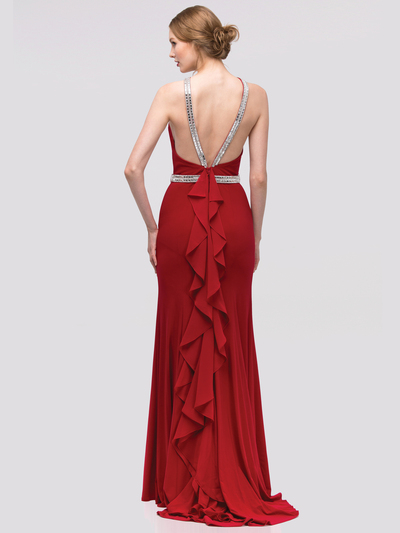 30-4053 Halter Jeweled Neckline Long Prom Dress - Burgundy, Back View Medium