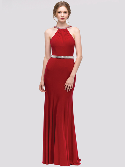 30-4053 Halter Jeweled Neckline Long Prom Dress - Burgundy, Front View Medium