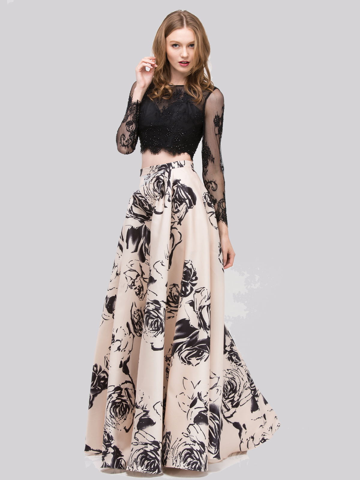 Two-Piece Long Sleeves Prom Dress