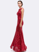 30-5105 Sleeveless Sequin Evening with Cutout Back, Red