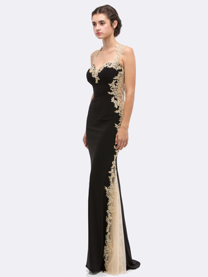 30-6006 Sleeveless Lace Trim Evening Dress with Cutout Back, Black