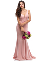 30-6010 Sleeveless Long Prom Dress with Mermaid Hem - Blush, Front View Thumbnail
