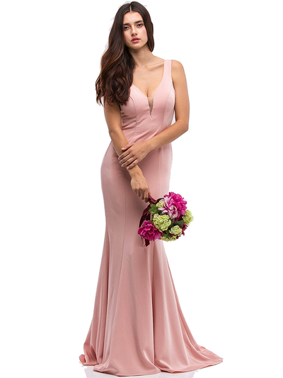 30-6010 Sleeveless Long Prom Dress with Mermaid Hem - Blush, Front View Medium