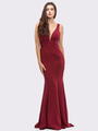 30-6010 Sleeveless Long Prom Dress with Mermaid Hem - Burgundy, Front View Thumbnail