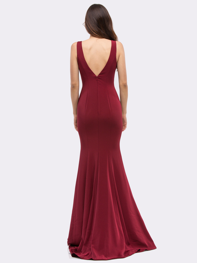 30-6010 Sleeveless Long Prom Dress with Mermaid Hem - Burgundy, Back View Medium
