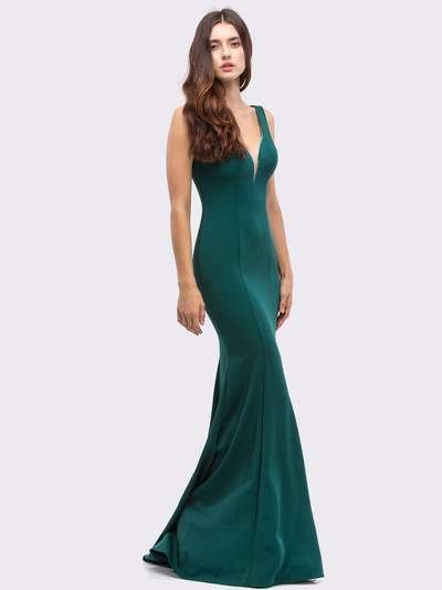 30-6010 Sleeveless Long Prom Dress with Mermaid Hem - Hunter Green, Front View Medium