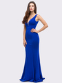 30-6010 Sleeveless Long Prom Dress with Mermaid Hem - Royal Blue, Front View Thumbnail