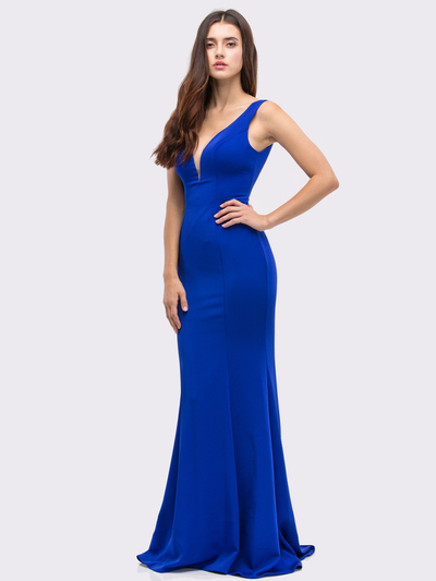30-6010 Sleeveless Long Prom Dress with Mermaid Hem - Royal Blue, Front View Medium