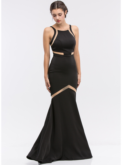 30-6011 Sleeveless Mermaid Prom Evening Dress - Black, Front View Medium