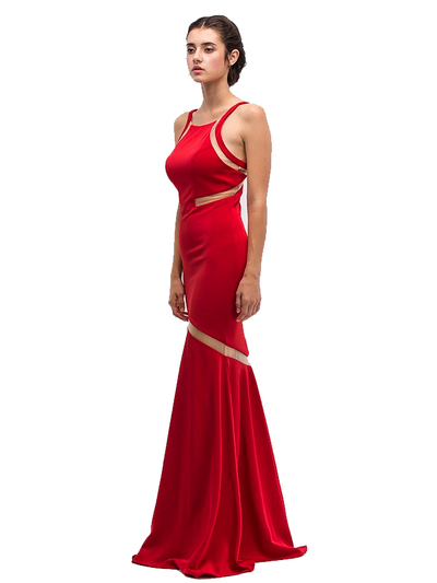 30-6011 Sleeveless Mermaid Prom Evening Dress - Red, Front View Medium