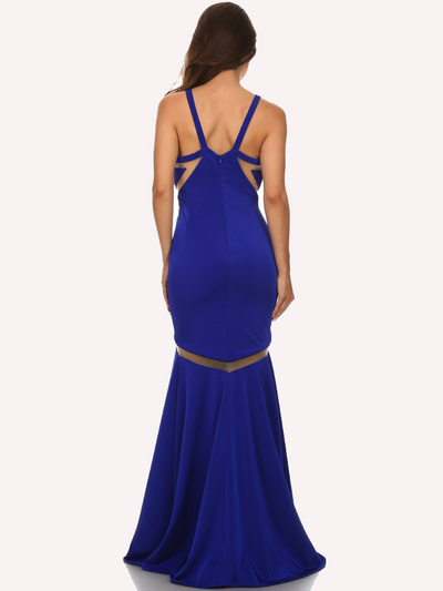 30-6011 Sleeveless Mermaid Prom Evening Dress - Royal Blue, Back View Medium