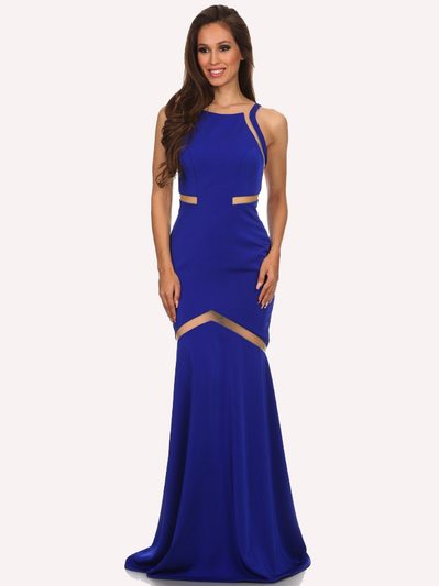 30-6011 Sleeveless Mermaid Prom Evening Dress - Royal Blue, Front View Medium