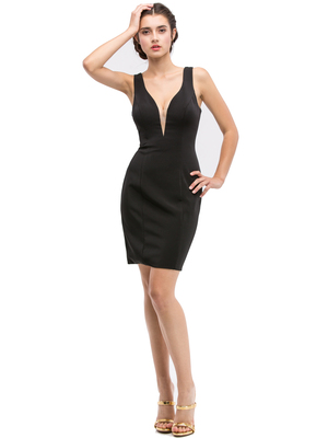 30-6020 Sleeveless Cocktail Dress, Black