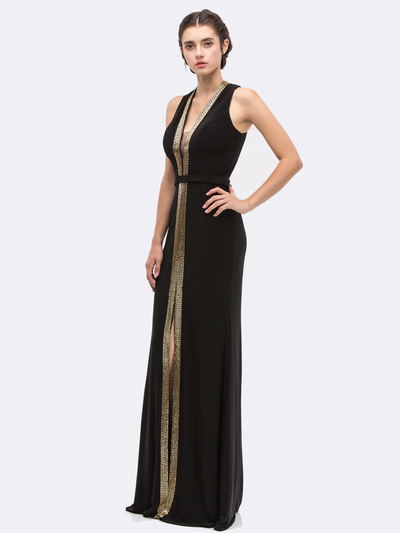 30-6030 V-Neck Sleeveless Long Evening Dress with Slit - Black, Front View Medium