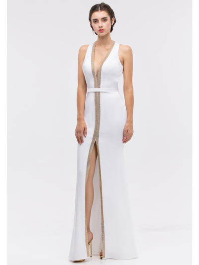 30-6030 V-Neck Sleeveless Long Evening Dress with Slit - Off White, Front View Medium