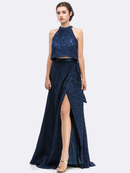 30-6111 Crew Neck Mock Two-piece Evening Dress with Slit, Navy
