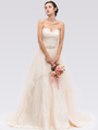 30-6500 Strapless Sweetheart Destination Wedding Gown - Champagne, Front View Thumbnail