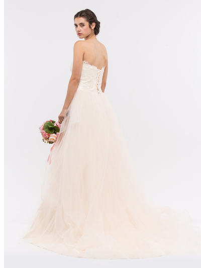 30-6500 Strapless Sweetheart Destination Wedding Gown - Champagne, Back View Medium