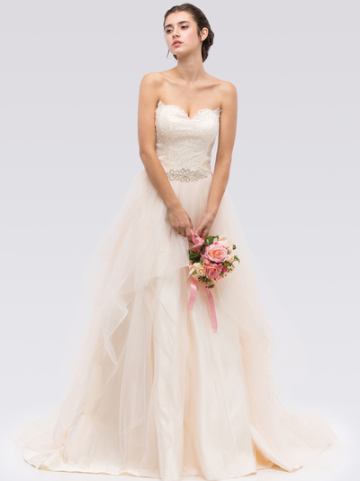 30-6500 Strapless Sweetheart Destination Wedding Gown - Champagne, Front View Medium