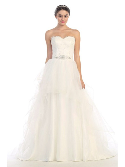 30-6500 Strapless Sweetheart Destination Wedding Gown - Off White, Front View Medium