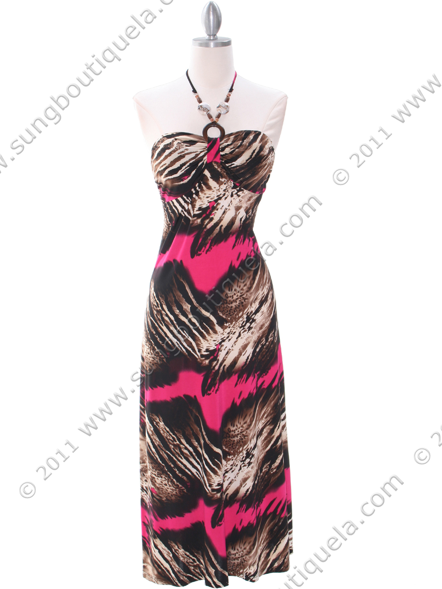 30132 Hot Pink Print Summer Dress - Front Image