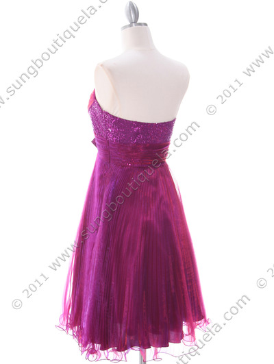 303 Purple Strapless Pleated Cocktail Dress - Purple, Back View Medium