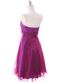 Purple Strapless Pleated Cocktail Dress - Back Image