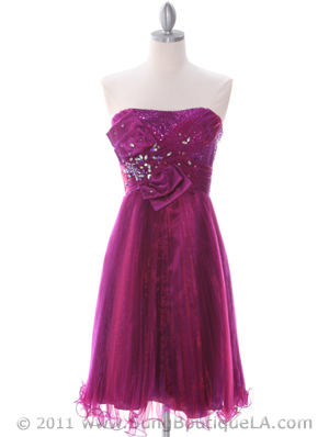 Purple Strapless Pleated Cocktail Dress - Front Image