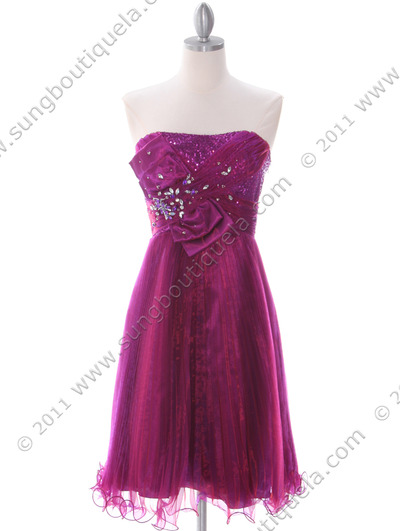 303 Purple Strapless Pleated Cocktail Dress - Purple, Front View Medium