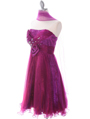 Purple Strapless Pleated Cocktail Dress - Alt Image