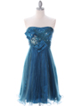 303 Teal Strapless Pleated Cocktail Dress - Teal, Front View Thumbnail
