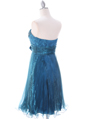 Teal Strapless Pleated Cocktail Dress - Back Image