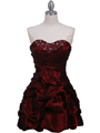 Burgundy Taffeta Cocktail Dress - Front Image