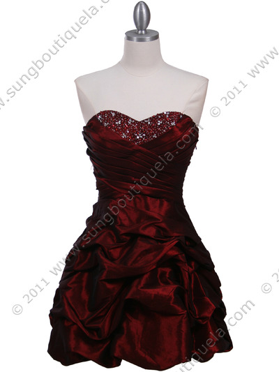 3054 Burgundy Taffeta Cocktail Dress - Burgundy, Front View Medium