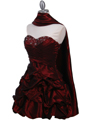 Burgundy Taffeta Cocktail Dress - Alt Image