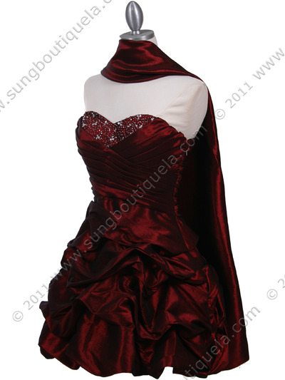 3054 Burgundy Taffeta Cocktail Dress - Burgundy, Alt View Medium
