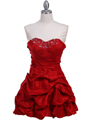 3054 Red Taffeta Cocktail Dress - Red, Front View Thumbnail