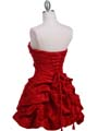 3054 Red Taffeta Cocktail Dress - Red, Back View Thumbnail