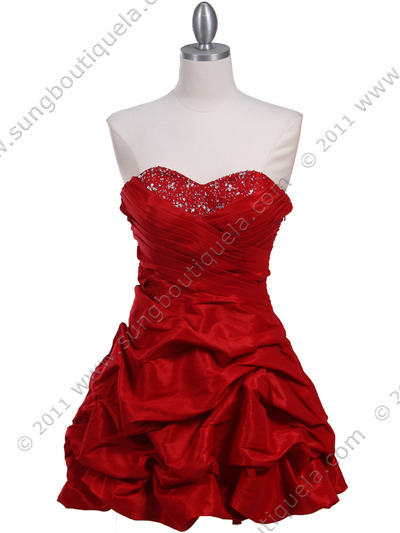 3054 Red Taffeta Cocktail Dress - Red, Front View Medium