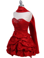3054 Red Taffeta Cocktail Dress - Red, Alt View Thumbnail