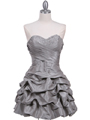 Silver Taffeta Cocktail Dress - Front Image