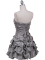 Silver Taffeta Cocktail Dress - Back Image
