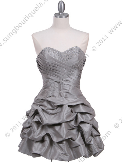 3054 Silver Taffeta Cocktail Dress - Silver, Front View Medium