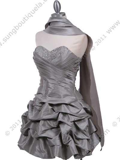 3054 Silver Taffeta Cocktail Dress - Silver, Alt View Medium
